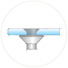 Точечное крепление стекла с зенковкой