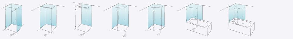 Типовые конструкции душевых кабин Farfalla