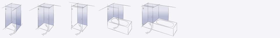 Типовые конструкции стеклянных душевых