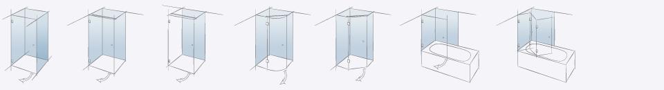 Применение фурнитуры в типах душевых конструкций