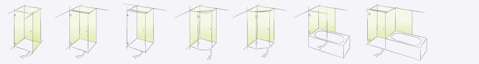 Типовые конструкции немецких душевых кабин Pillango