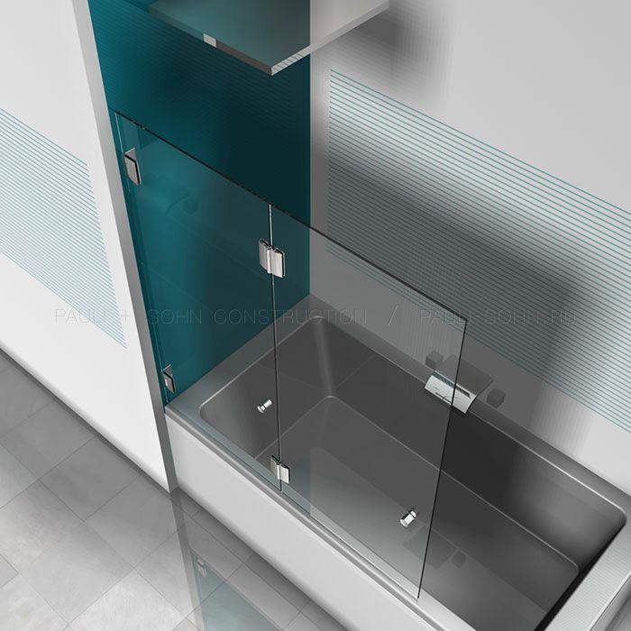 Стеклянная складная перегородка на ванну