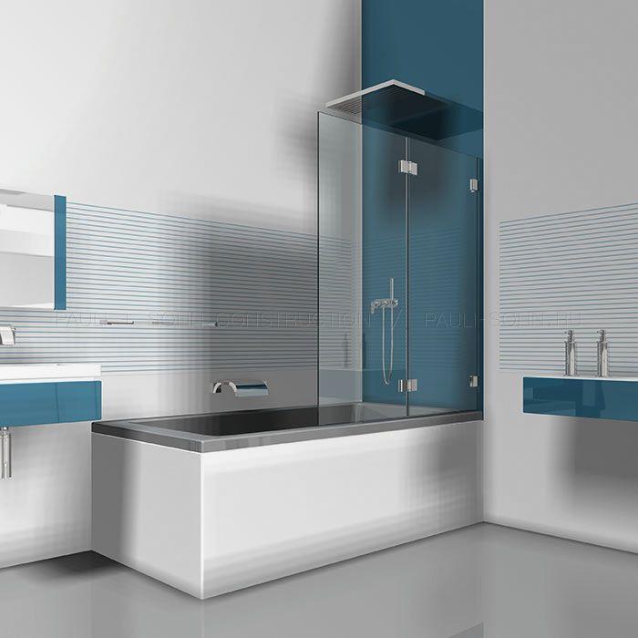 Складная стеклянная шторка на ванну