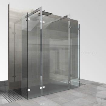 Стеклянная душевая перегородка без дверей