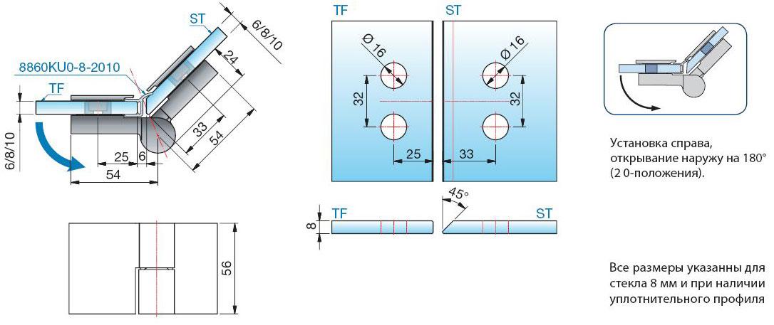 Схема вырезов стекло стекло 135