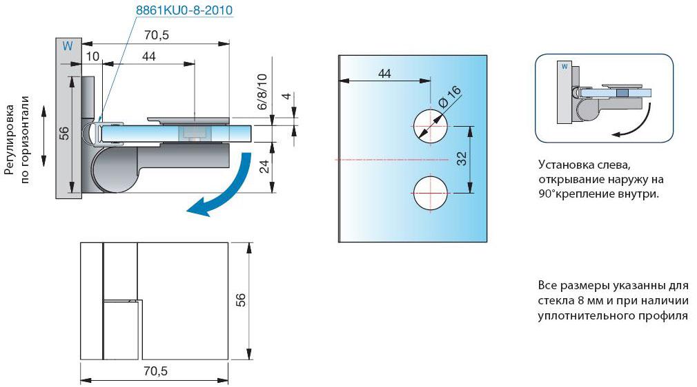 Схема монтажа петли стена-стекло